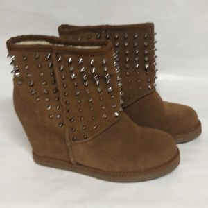 Suede and spike suede wedge booties